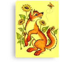 Red Wolf in Summer - Sunflowers and Butterflies Canvas Print