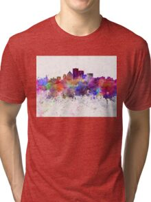 Rochester NY skyline in watercolor background Tri-blend T-Shirt
