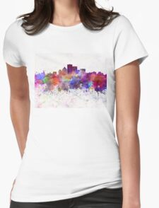 Rochester NY skyline in watercolor background Womens Fitted T-Shirt