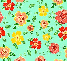 Colorful hand drawn floral print by lenkisart