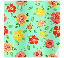 Colorful hand drawn floral print Poster