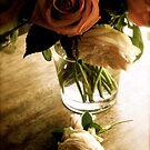 Rose arrangement in glass by Barbara Wyeth