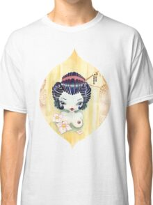 Japanese Girl with Lotus Flowers Classic T-Shirt