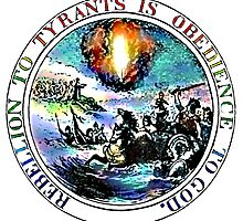 Rebellion To Tyrants Is Obedience To God (w/ white behind text) by Vicktorya Stone