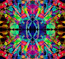 Abstract Psychedelic Rainbow Gem on Black by Kari Sutyla
