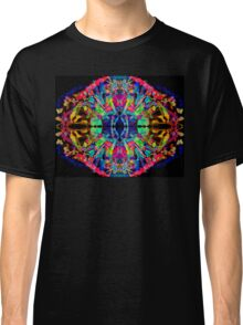 Abstract Psychedelic Rainbow Gem on Black Classic T-Shirt