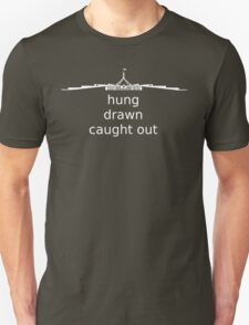 Hung, Drawn & Caught Out - White Graphic, Funny T-Shirt