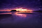 Purple and peach dawn sandbar by Ken Wright