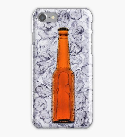 Beer on ice cubes fragmented in vertical iPhone Case/Skin