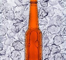Beer on ice cubes fragmented in vertical by paulrommer