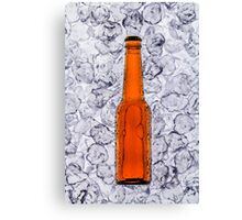 Beer on ice cubes fragmented in vertical Canvas Print