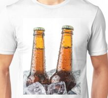 Beers on ice cubes whit water drops Unisex T-Shirt