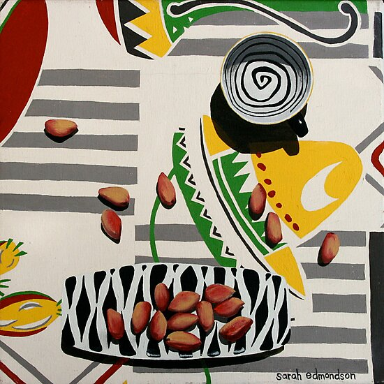 Swirly Cup and Pistachio Nuts by Sarah  Edmondson