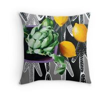 Actichoke, Lemons and Lime Throw Pillow