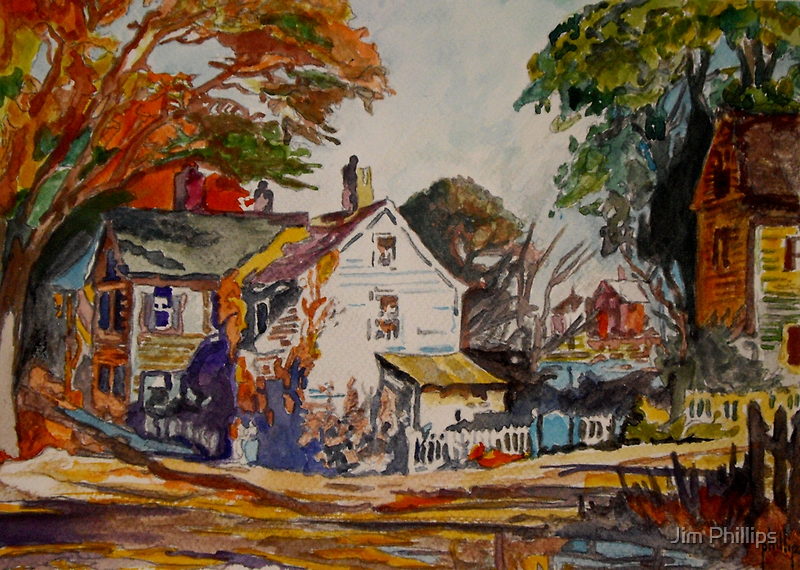 """Study of Ted Kautzky's """"Village Scene"""" by Jim Phillips"""