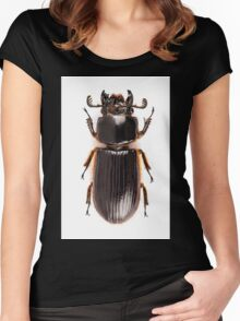 Beetle Aceraius grandis from Java Island of Indonesia isolated on white background Women's Fitted Scoop T-Shirt