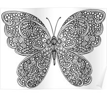 Hand drawn butterfly print Poster