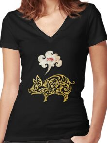Golden pig decoration Women's Fitted V-Neck T-Shirt