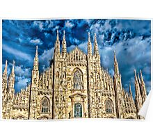 Facade of Cathedral Duomo in Milan Poster
