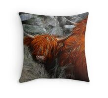 Highland Bulls Throw Pillow