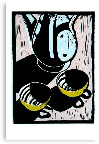 Coffee for Two - Lino Print by Sarah  Edmondson