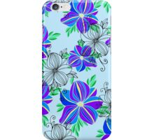 Bright blue orchid print iPhone Case/Skin