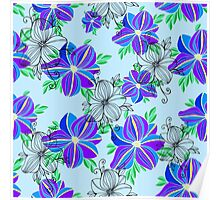 Bright blue orchid print Poster