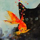 Black cat and the Gold fish,,Enjoy ! by LoveringArts