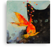 Black cat and the Gold fish,,Enjoy ! Canvas Print