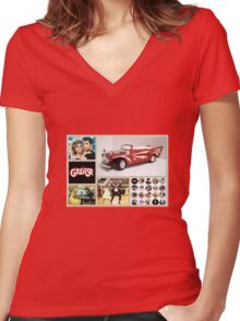 Grease Lightning Women's Fitted V-Neck T-Shirt