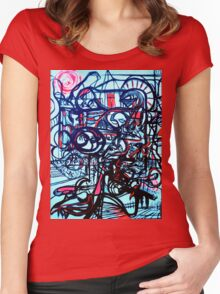 Psychedelic Cityscape Women's Fitted Scoop T-Shirt