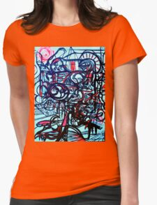 Psychedelic Cityscape Womens Fitted T-Shirt