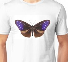 brown, blue and purple butterfly species Euploea Mulciber Unisex T-Shirt