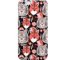 beautiful pattern  portraits of tigers and foxes iPhone Case/Skin