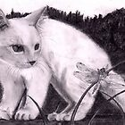 White Cat and Dragonfly Black and White Art Drawing by Drawing