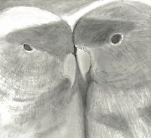 Lovebirds Black and White Art Drawing by Drawing