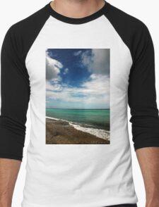 Blue and Green Sea View Men's Baseball ¾ T-Shirt