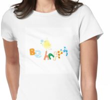 Be happy. Womens Fitted T-Shirt