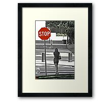 Stop... Look Both Ways Before Crossing Framed Print