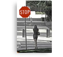 Stop... Look Both Ways Before Crossing Canvas Print