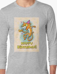 Jumping Happy Party Cat - Birthday Card Long Sleeve T-Shirt