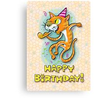 Jumping Happy Party Cat - Birthday Card Canvas Print