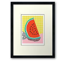 Dyno - watermelon throwback memphis 1980's retro style dots grid bright colorful modern hipster art Framed Print