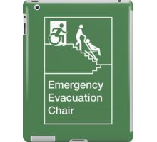 Emergency Evacuation Chair Sign, with the Accessible Means of Egress Icon, showing a person being assisted down a fire stairs, part of the Accessible Exit Sign Project iPad Case/Skin