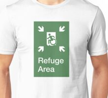 Refuge Area Accessible Exit Sign, with the Accessible Means of Egress Icon, part of the Accessible Exit Sign Project Unisex T-Shirt