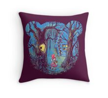 Girl and the bear Throw Pillow
