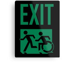 Emergency EXIT Sign, with the Accessible Means of Egress Icon and Running Man, part of the Accessible Exit Sign Project Metal Print