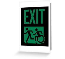 Emergency EXIT Sign, with the Accessible Means of Egress Icon and Running Man, part of the Accessible Exit Sign Project Greeting Card