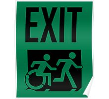Emergency EXIT Sign, with the Accessible Means of Egress Icon and Running Man, part of the Accessible Exit Sign Project Poster