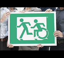 Emergency Exit Sign, with the Accessible Means of Egress Icon and Running Man, part of the Accessible Exit Sign Project by Egress Group Pty Ltd